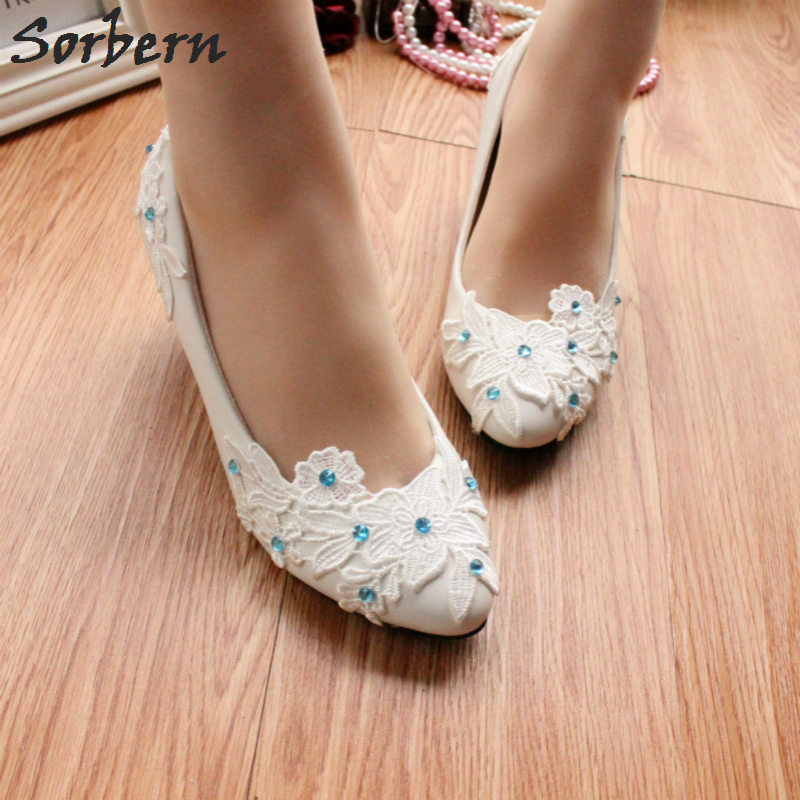 Sorbern White Lace Flower 5Cm Women Heels Med Kitten Heel Pumps Bridal Shoes Ice Blue Crystals