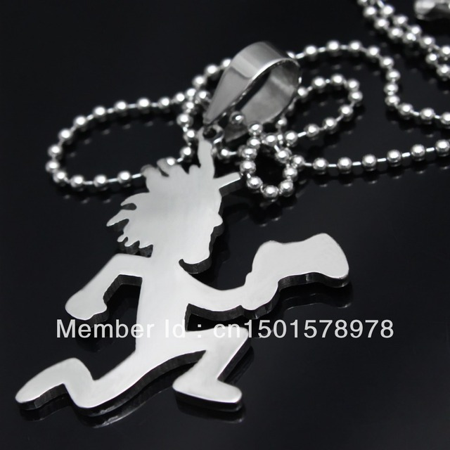 Free ship! Men's silver 316L stainless steel 2'' large hatchetman charms pendant Free chain Crazy clown ICP jewelry