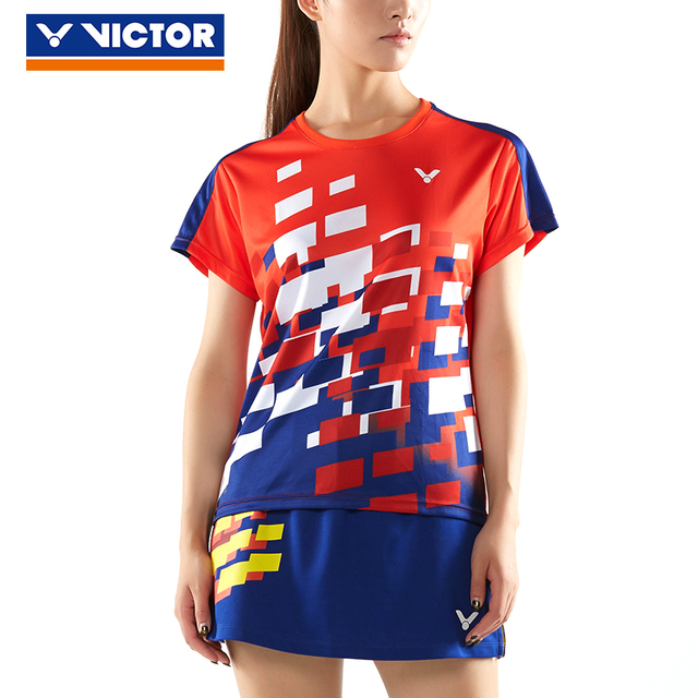 bbd578ac Victor National Team Competition Tournament Series Badminton Jersey  Short-sleeved Blouse For Men Women T-80005