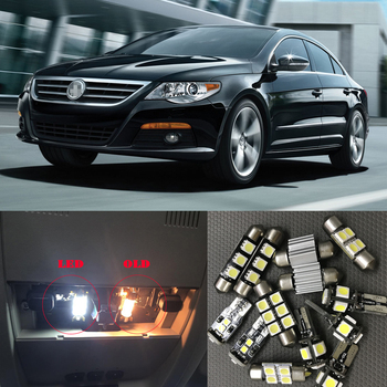 цена на 12pc Canbus Error Free White LED Light Interior Package Kit For 2009 2010 2011 Volkswagen VW CC Dome Map License Plate Lamp