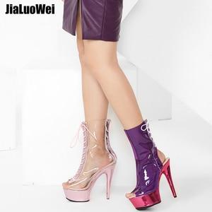 Image 5 - Jialuowei 2018 ผู้หญิงรองเท้าข้อเท้า Peep Toe Lace Up ใสโปร่งใส PVC METALLIC รองเท้าส้นสูงแพลตฟอร์ม 15 ซม.รองเท้าส้นสูง
