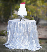Silver Round Sequin Tablecloth 50 Inches Round Tablecloth Wedding Tablecloth (China)