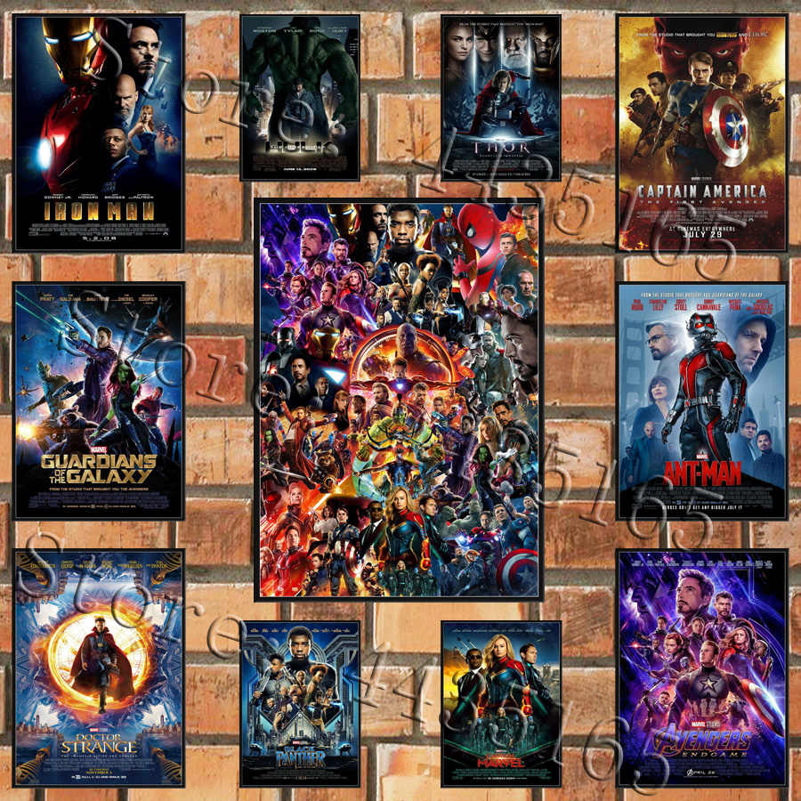 Marvel Avengers Poster 2008-2019 Movie Series Collection Marvel End Game Posters and Print Art Canvas Painting Thor Hulk Thanos