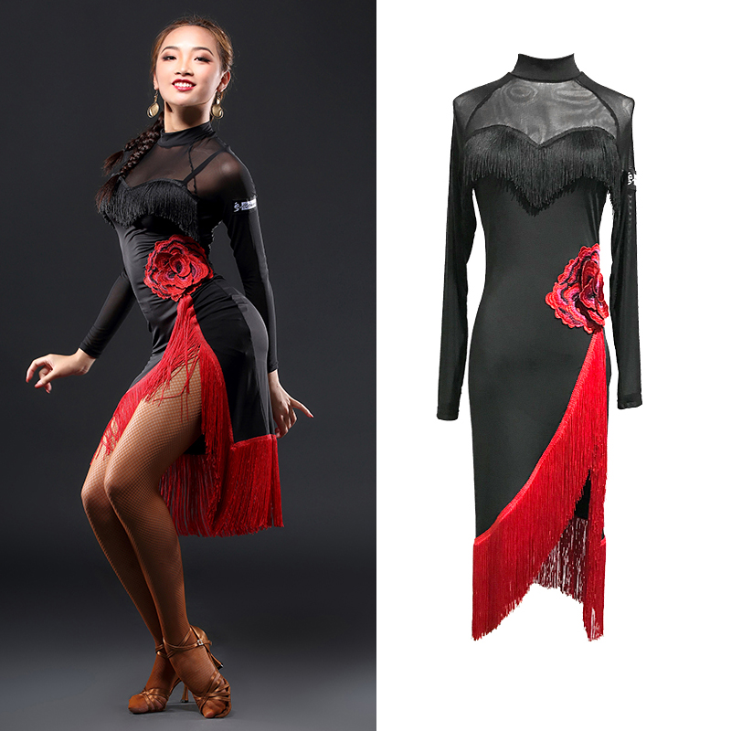 Newest Latin Dance Dresses For Ladies Black Color  Latino Skirts Amazing Women Chacha/Modern Arena Show Embroidered Tassel QI372