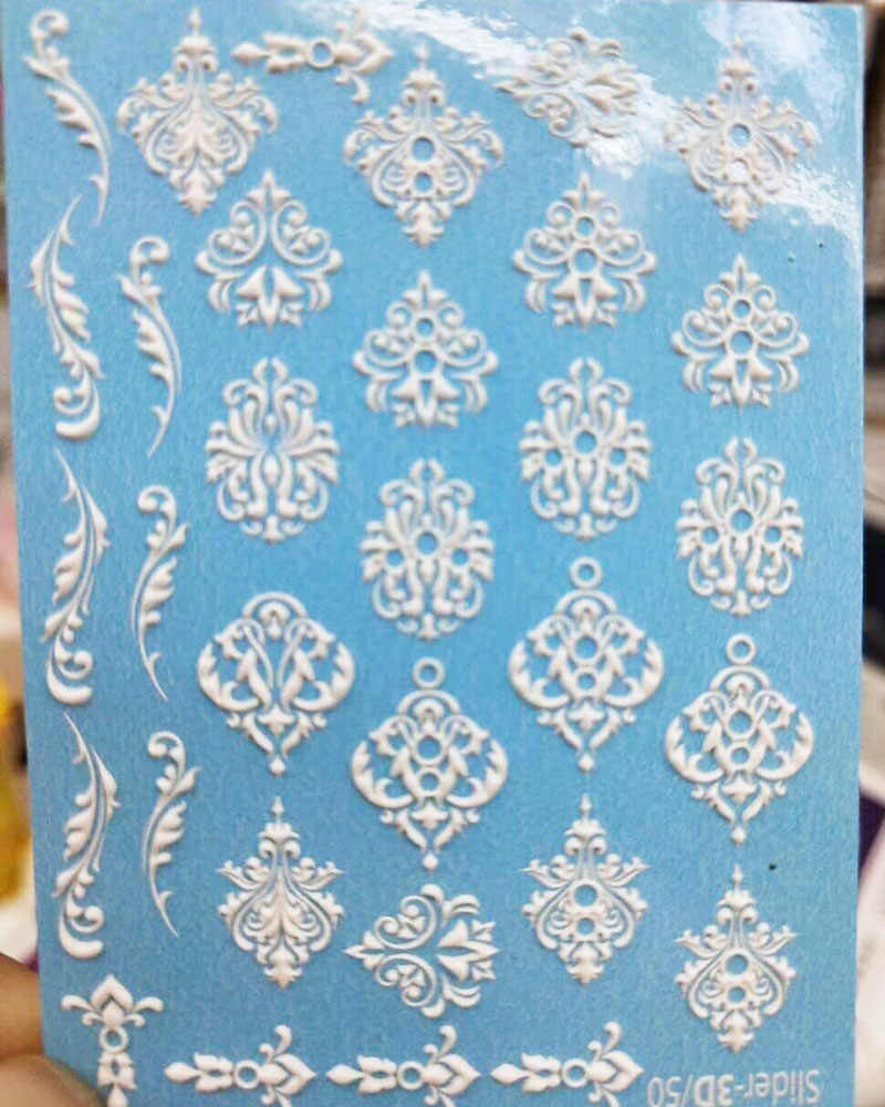 1 pc 3D אקריליק חקוק פלמינגו לוטוס דבורה נייל מדבקת בולט עלה פרח מים מדבקות Empaistic נייל מים שקופיות DecalsZ0097