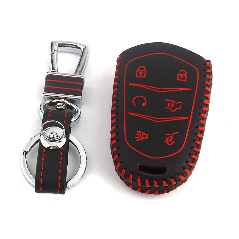 Leather Key Case Keychain Fit For Cadillac Escalade ESV XTS ATS CTS SRX 6BT Auto Smart Remote Fob Cover Protector Accessories