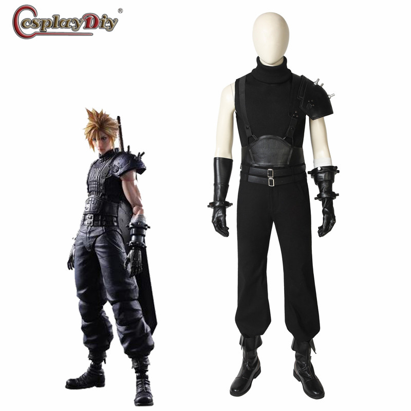 Cosplaydiy game FINAL FANTASY VII Cloud Strife FFVII FF7 Cosplay Costume Adult Men Halloween Suits Black Outfit Custom Made