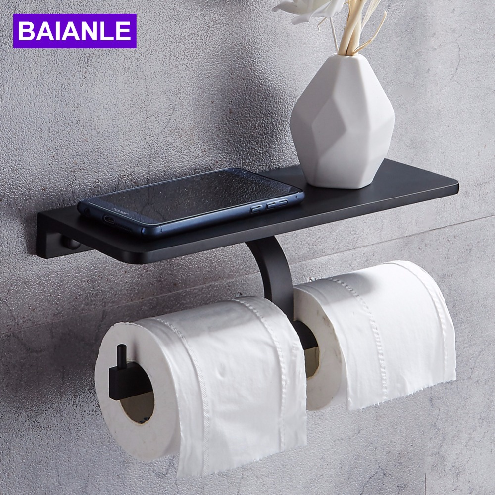 Toilet Paper Holder with Shelf Aluminum Double Roll Paper Holder Black Wall Mounted Mobile Phone Bathroom Paper Towel Holder 1pcs wall mounted stainless steel bathroom towel shelf holder adhesive force bathroom shelf pendant toilet roll paper hanging