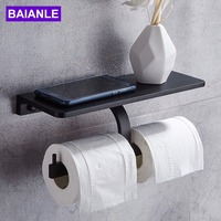 Toilet Paper Holder with Shelf Aluminum Double Roll Paper Holder Black Wall Mounted Mobile Phone Bathroom Paper Towel Holder