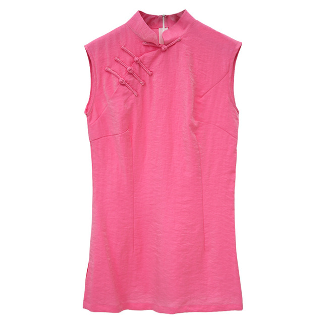 New 2017 Sleeveless Solid Hot Pink Cotton Linen Ladies' Shirt ...