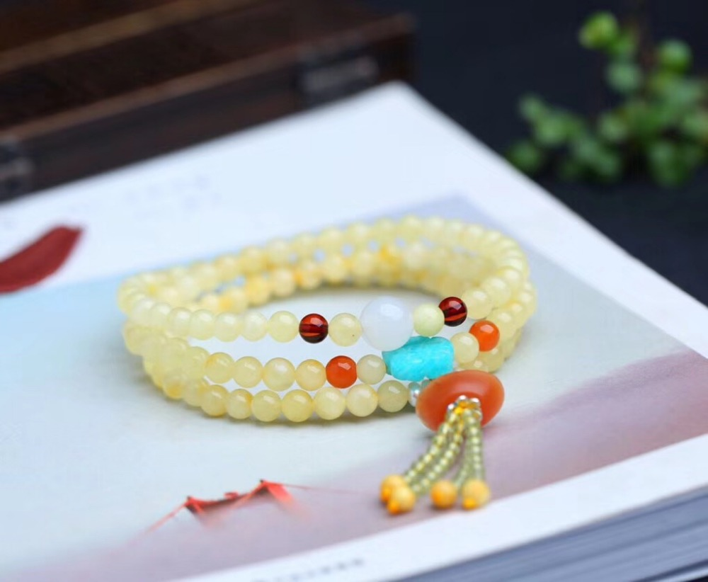 Genuine Natural Yellow Amber 3 Laps Bracelet Women Men Love Gift Stretch Crystal 5mm Round Beads Charm Fashion Bracelet Jewelry
