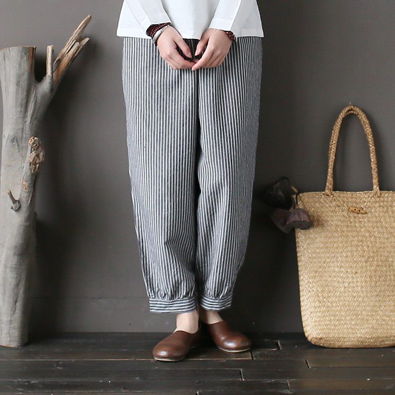 Johnature 2019 Spring New Striped Cotton Linen Pants Women -6889