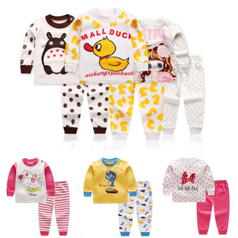 Brillant Baby Mädchen Jungen Baumwolle Bekleidungs Kinder Cartoon Nachtwäsche Langarm Pyjamas Kinder Unterwäsche Set Baby Lange Unterhosen Herbst Kleidung