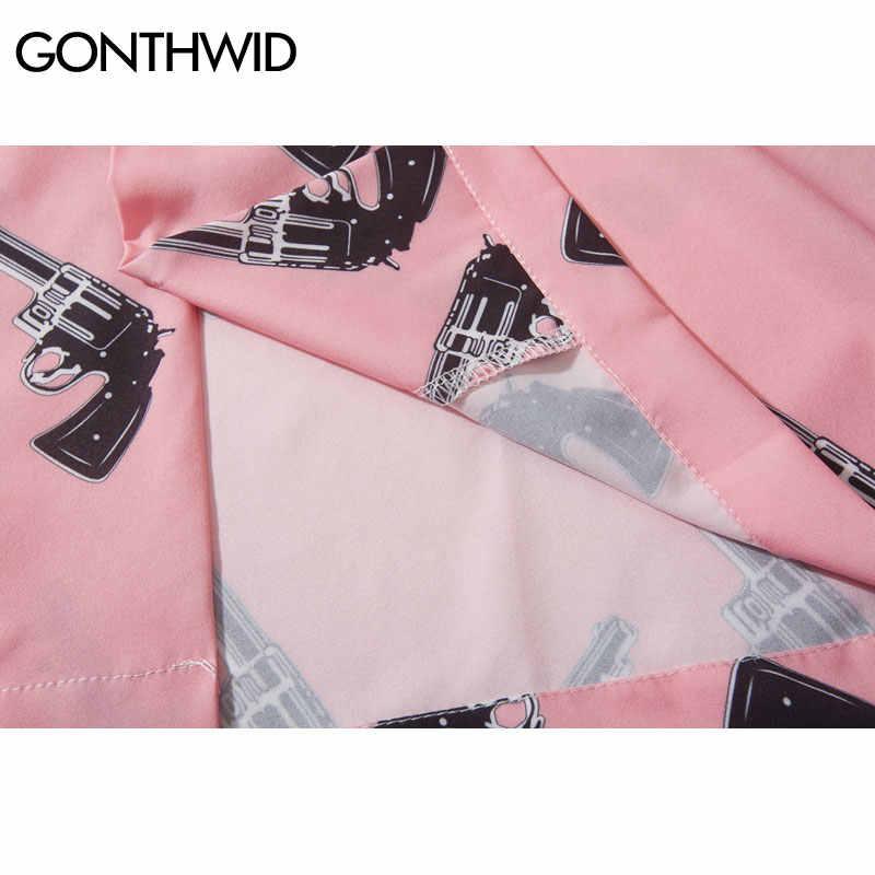 GONTHWID Pistol Gun Print Pink Beach Hawaiian Aloha Shirts 2019 Summer Mens Casual Short Sleeve Shirt Male Fashion Shirts Tops