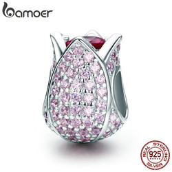 BAMOER Romantic 925 Sterling Silver Tulip Flower Petals Pink CZ Beads fit Women Bracelet & Necklaces DIY Jewelry Making SCC569