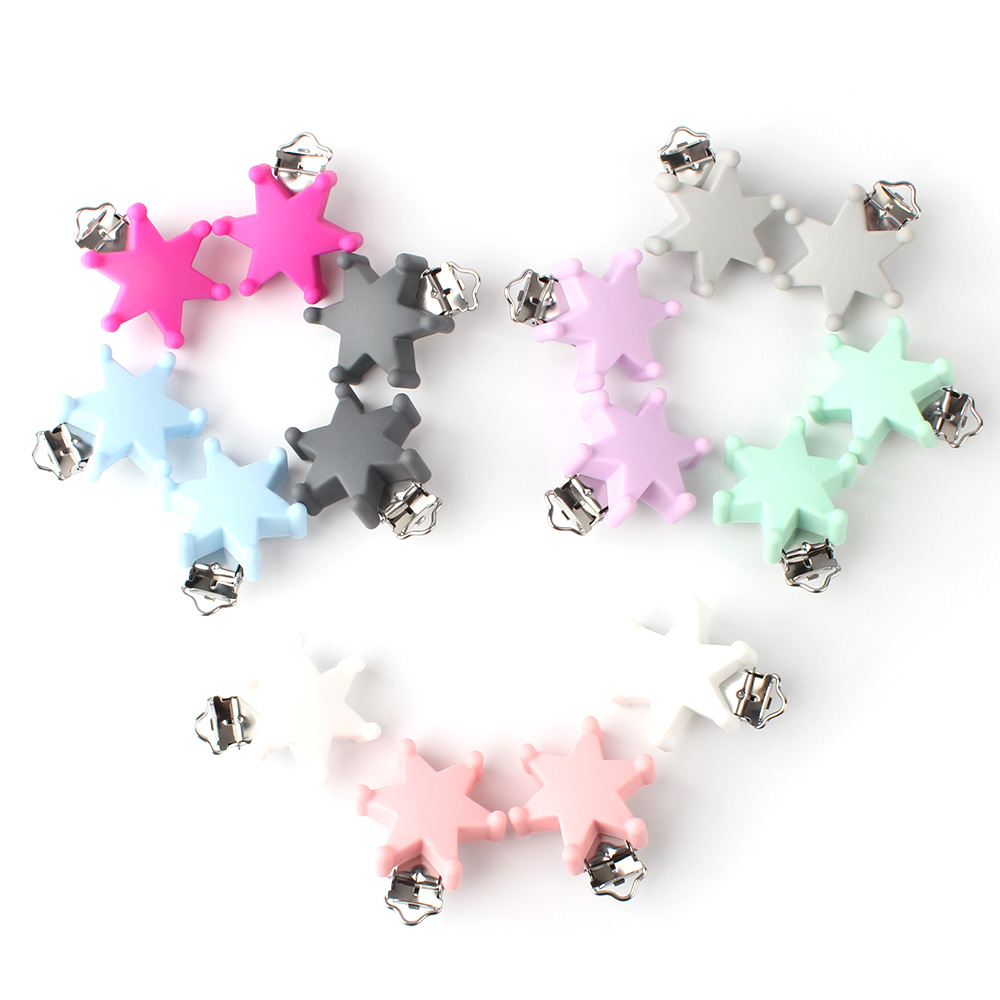 50pcs 45mm Six star Silicone teether Metal Clip silicone accessories for rodent Pacifier DIY Baby Teether Necklace Pendant Clamp