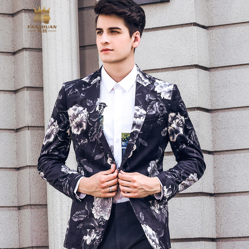 FANZHUAN New Free Shipping 2018 Casual Male MEN'S MAN Flower Slim Man European Printed Blazer Small Suit Coat Personality 820025