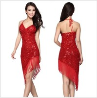New Style Latin Dance Costume Mesh Sequins Tassel Latin Deance Dress For Women Latin Dance Exercise