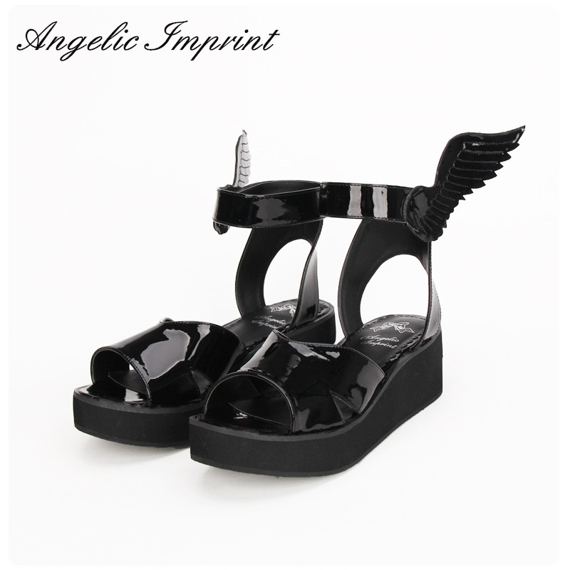 2016 Summer New Arrivals LOLITA COS GOTHIC PUNK Wing Wedge Sandals Shoes BLACK аксессуары для косплея cosplay wig cosplay cos cos