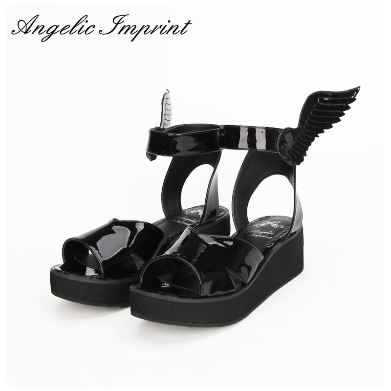 все цены на 2016 Summer New Arrivals LOLITA COS GOTHIC PUNK Wing Wedge Sandals Shoes BLACK онлайн