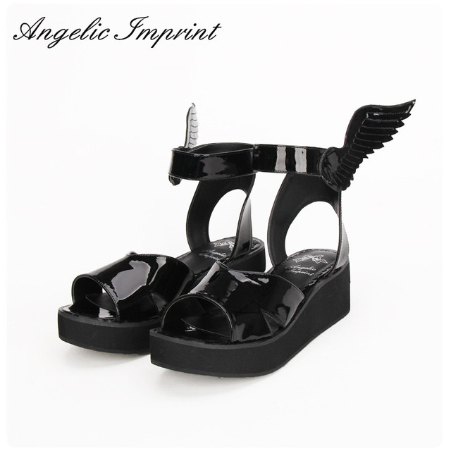 7692b0a1cac58 2016 Summer New Arrivals LOLITA COS GOTHIC PUNK Wing Wedge Sandals Shoes  BLACK