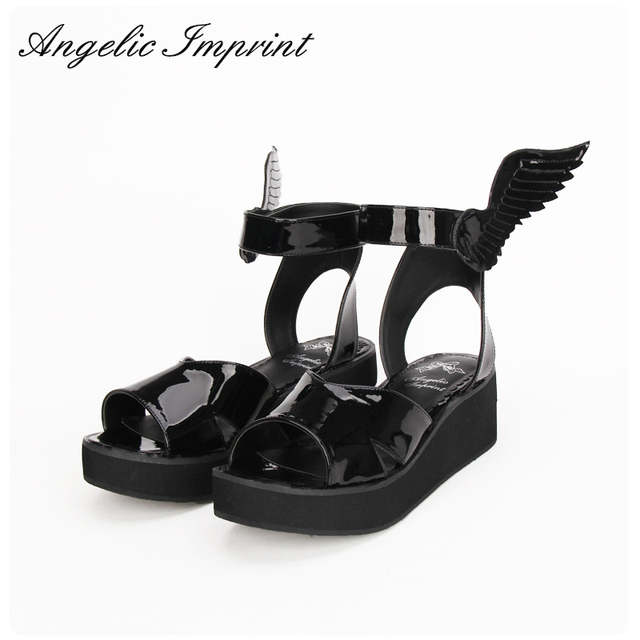 9ee6b630f3f 2016 Summer New Arrivals LOLITA COS GOTHIC PUNK Wing Wedge Sandals Shoes  BLACK