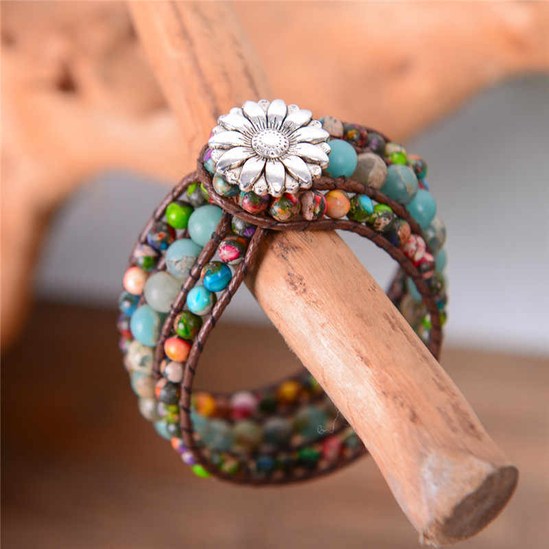 Natural Stone Women Boho Three Layer Bracelet Round Shape Emperor Stone Single Leather Wrap Bracelet Friendship Beaded Bracelet