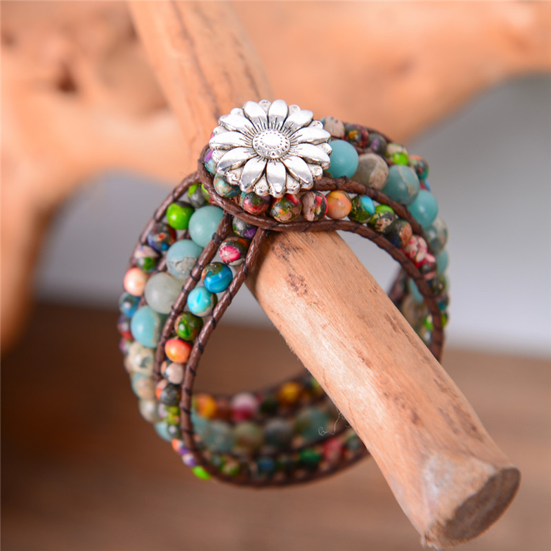 Natural Stone Women Boho Three Layer Bracelet Round Shape Emperor Stone Single Leather Wrap Bracelet Friendship