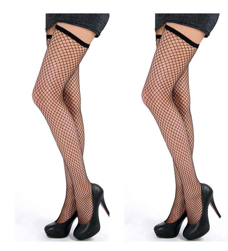 1Pairs Sexy Women Black Stockings Lace Thigh High Stockings Ladies Hollow Out Mesh Net Sexy Fishnet Stockings