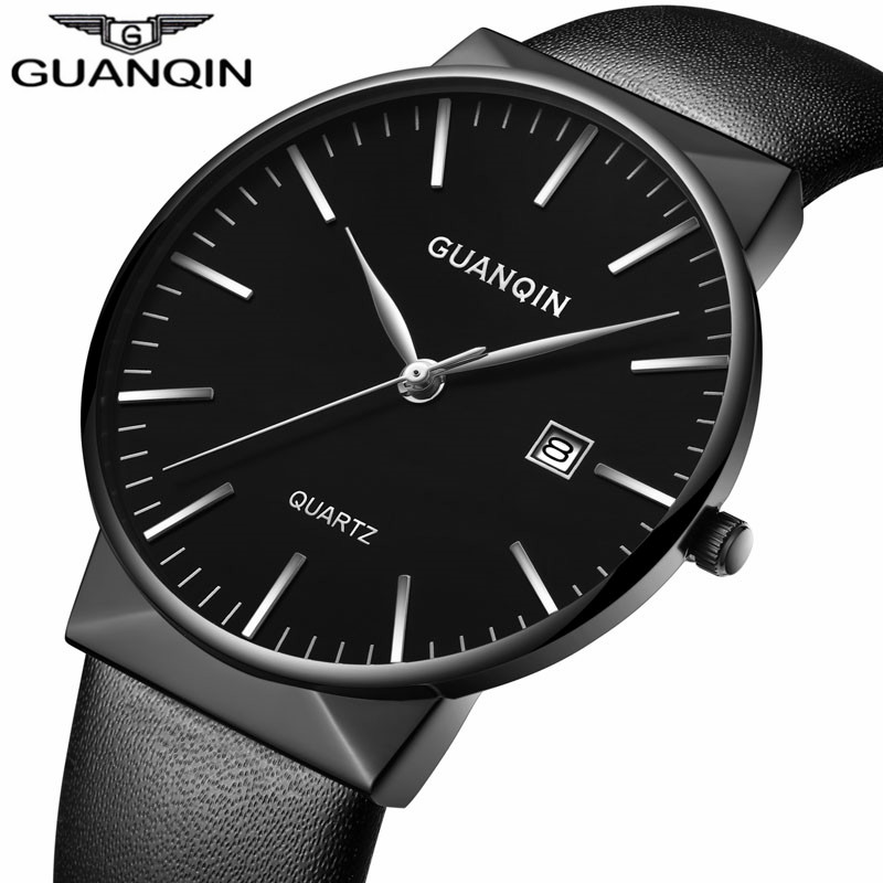 2017 GUANQIN Men Watches Top Brand Luxury Fashion Ultra Thin Leather Strap Quartz Watch Simple Men