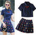 With Necklace! twinset women set summer casual short sleeve blue shirts tops and red mouth print pleated mini skirts suit NS399