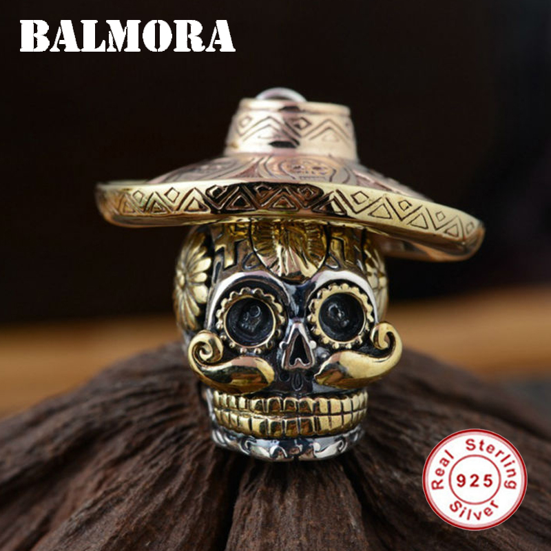 BALMORA 100 Real 925 Sterling Silver Skull Pendants Wearing a Hat for Necklaces Men Accessories Skull