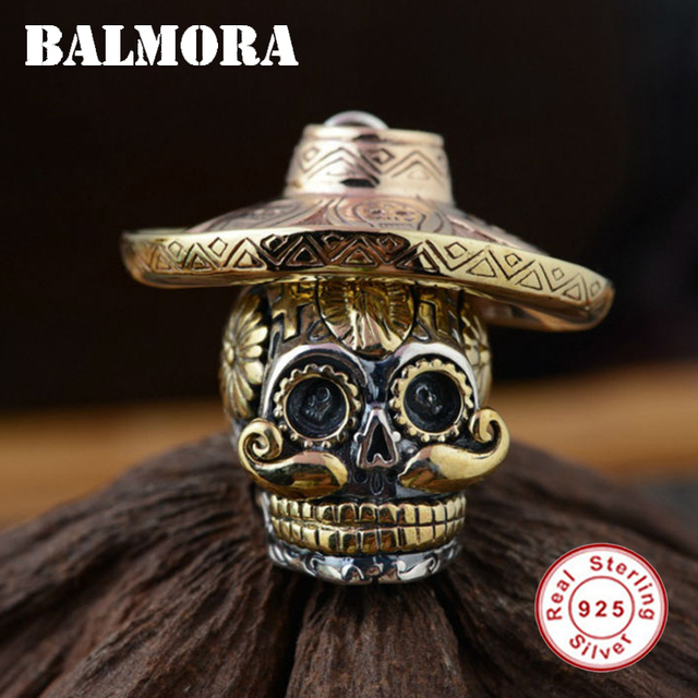 Sterling Silver Skull Pendants Balmora 100 real 925 sterling silver skull pendants wearing a hat balmora 100 real 925 sterling silver skull pendants wearing a hat for necklaces men accessories audiocablefo