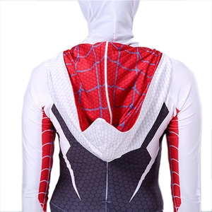 Image 5 - Spider Gwen Costume Stacy Cosplay Hoodie Mask Zentai Into the Spider Verse Adult Kids Bodysuit Skin Suit Halloween Cosplay