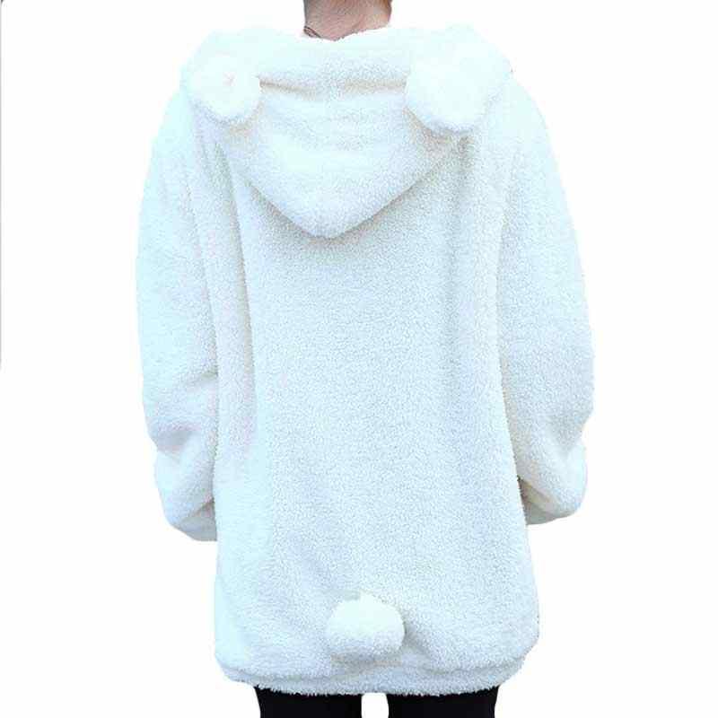 LITTHING 2019 נשים נים רוכסן ילדה אביב Loose פלאפי דוב אוזן הסווטשרט ברדס מעיל חם הלבשה עליונה מעיל חמוד חולצות