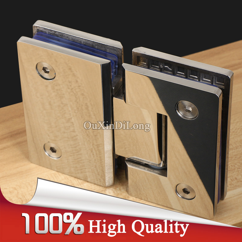 High Quality 2PCS 304 Stainless Steel Frameless Shower Bathroom Glass Door Hinges 180 Degree Glass to Glass Hinges Clamps Chrome high quality stainless steel glass hinges feel 180 solid two way spring bath shut down automatically mute