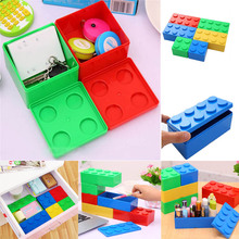 Desktop office stationery Cosmetics Building Block Shapes Superimposed Storage box