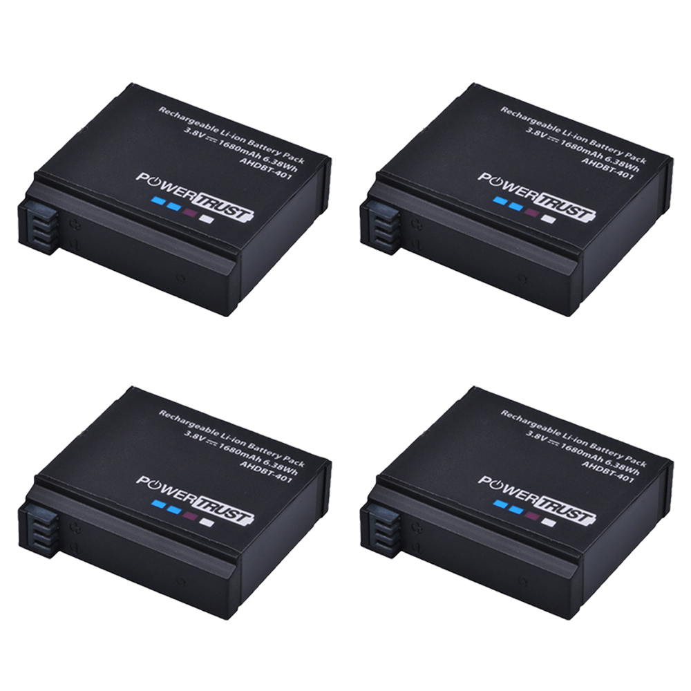 PowerTrust 4Pcs 3 8V AHDBT 401 1680mAh Go Pro AHDBT 401 AHDBT401 Li ion Digital Camera