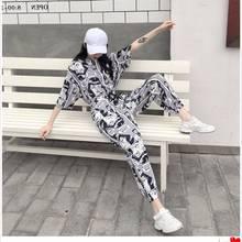 2019 Fashion Summer Women ladies Short Sleeve Csrtoon Print T Shirt Sets Pullover fleece Harajuku Tracksuits Tee Shirts Women