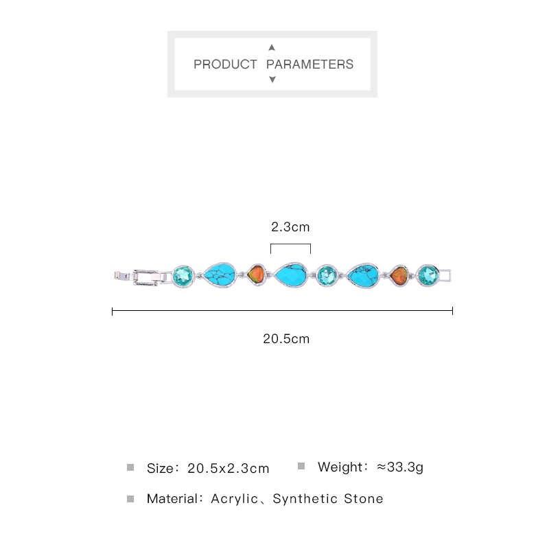 光沢のあるブルー合成石生姜水滴アクリルラウンド魅力のブレスレットの女性 2017 エレガントなシルバーブレスレット & バングル