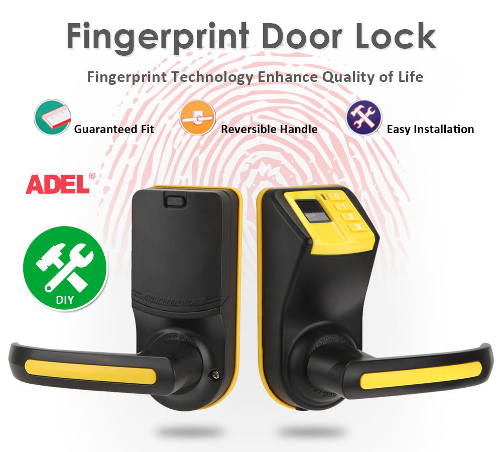 Yellow LS-9 DIY Fingerprint Door Lock with Password and Mechanical KeyYellow LS-9 DIY Fingerprint Door Lock with Password and Mechanical Key