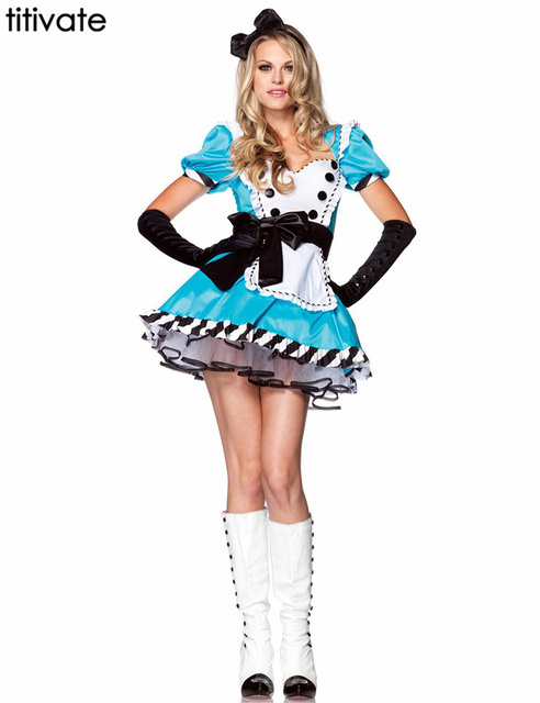 TITIVATE Alice in Wonderland for Dress MaId Wench Halloween Lolita Adult Cosplay Costumes Carnival Costume Fantasia Women Outfit