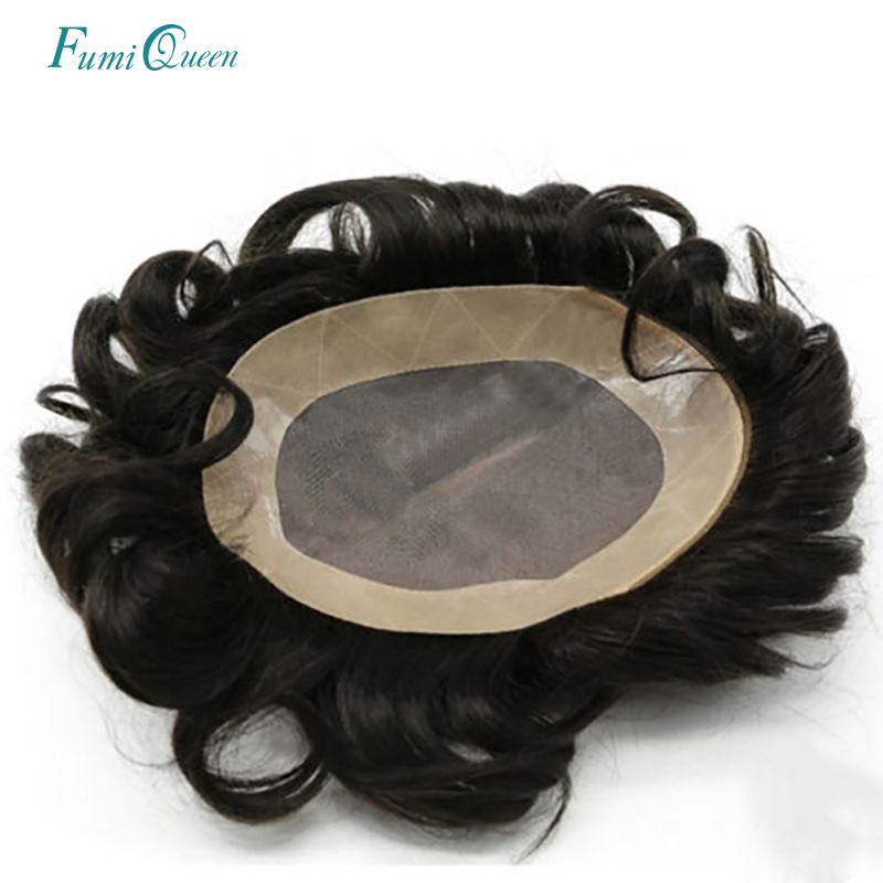 Ali FumiQueen Hair Replacement Systems Mono Lace NPU Indian Remy Hair Toupee Mens Hair Piece Wig