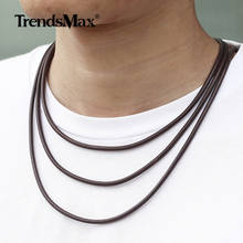 3mm Brown Black Leather Necklace For Men Women Man-made Leather Stainless Steel Magnetic Clasp Mens Womens Necklace HDNM17(China)