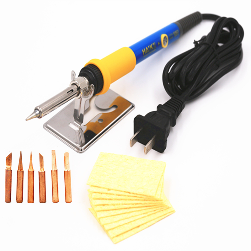 SZBFT Good quality 220V 60W Adjustable Temperature Electric Soldering Iron with copper tips sponge and soldering holder
