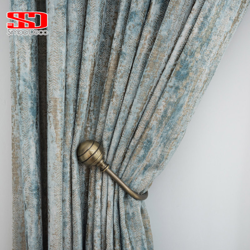 Chenille Jacquard Curtains For Living Room Retro Shiny Luxury Drapes For Bedroom High-Grade Window Treatments Single Panel