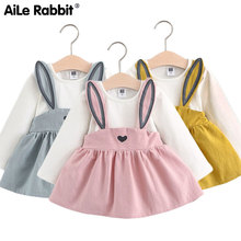 Infant girl baby clothes dress cartoon rabbit ears rabbit fake strap dress  autumn long sleeve For ffb5c27dac46