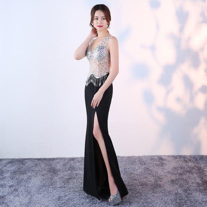 KTV nachtclub avondjurk lange sexy v hals fishtail jurk vrouwelijke nachtclub miss pr 2018 nieuwe aliexpress uk - 2