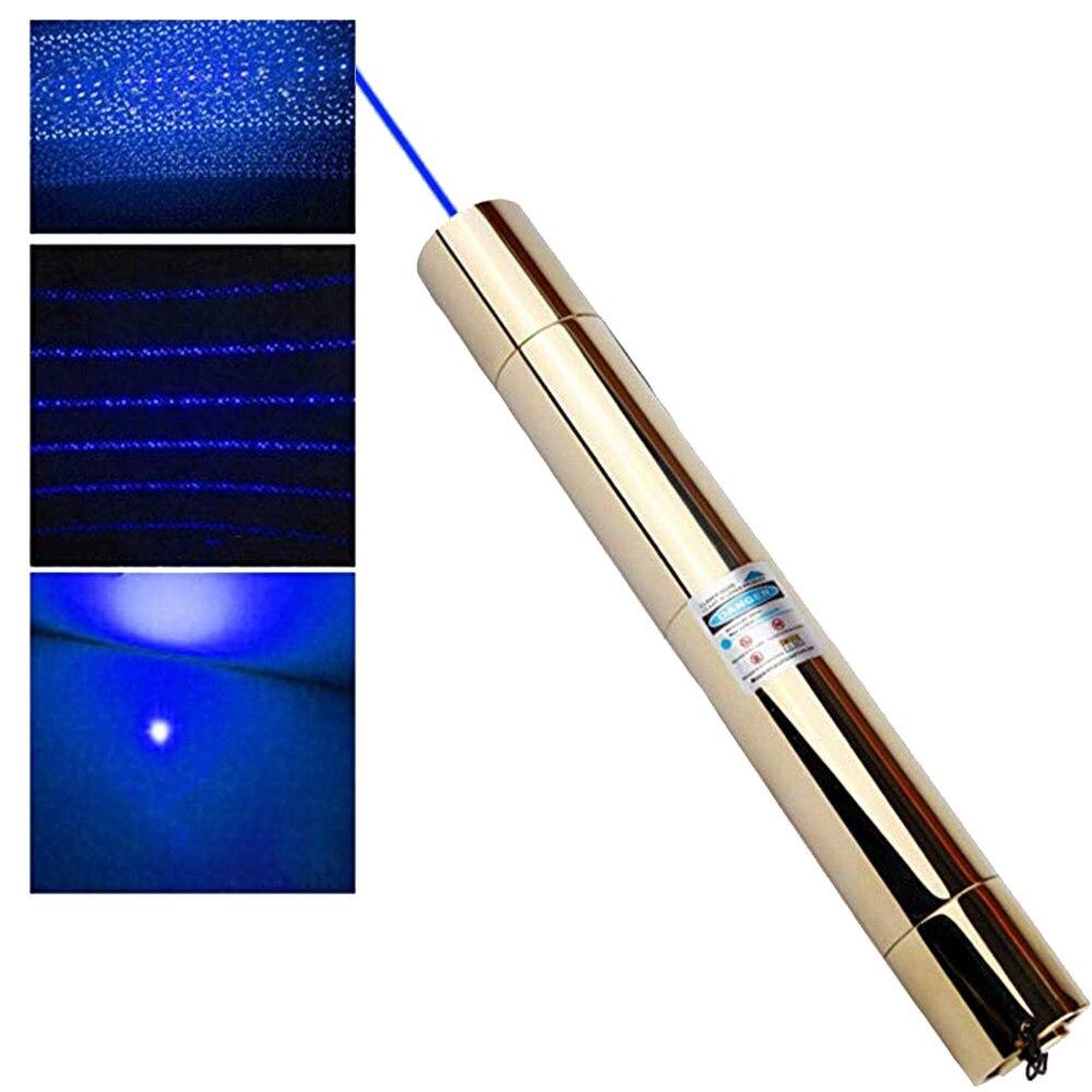 Haute puissance pointeur Laser bleu Plus Puissant 450 nm 5000 m Torche Laser Focusable lazer vue brûler l'allumette bougie allumée cigares