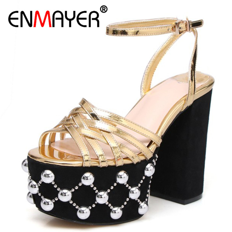 ENMAYER High Heels Summer Sandals Shoes Woman Pumps Buckle Strap Platform Shoes Party Wedding Shoe Plus Size 34-41 Gold Silver summer platform wedges party shoes for woman extreme high heels sexy wedding shoes woman comfort female shoes heel